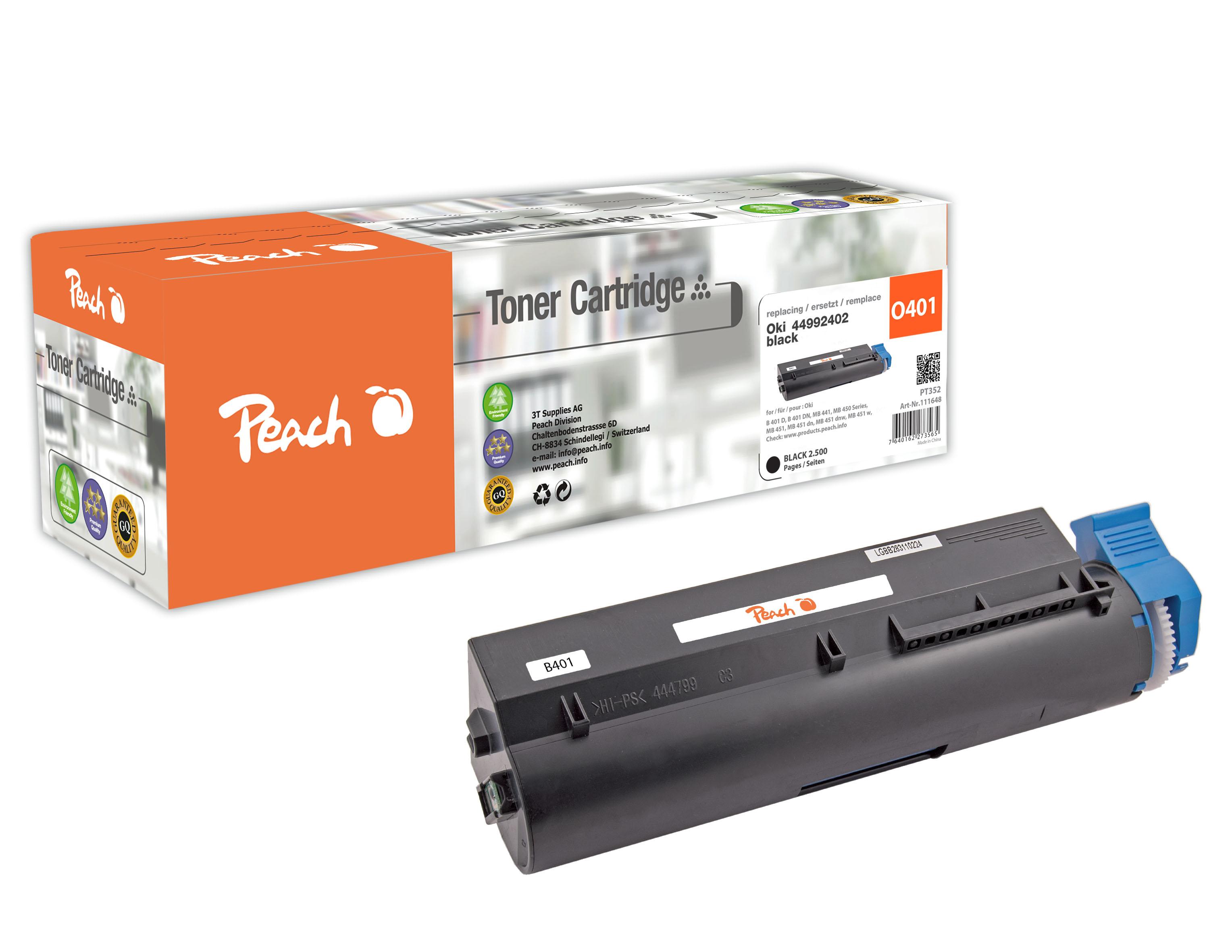 Peach  Tonermodul schwarz kompatibel zu Original OKI MB 451 dnw