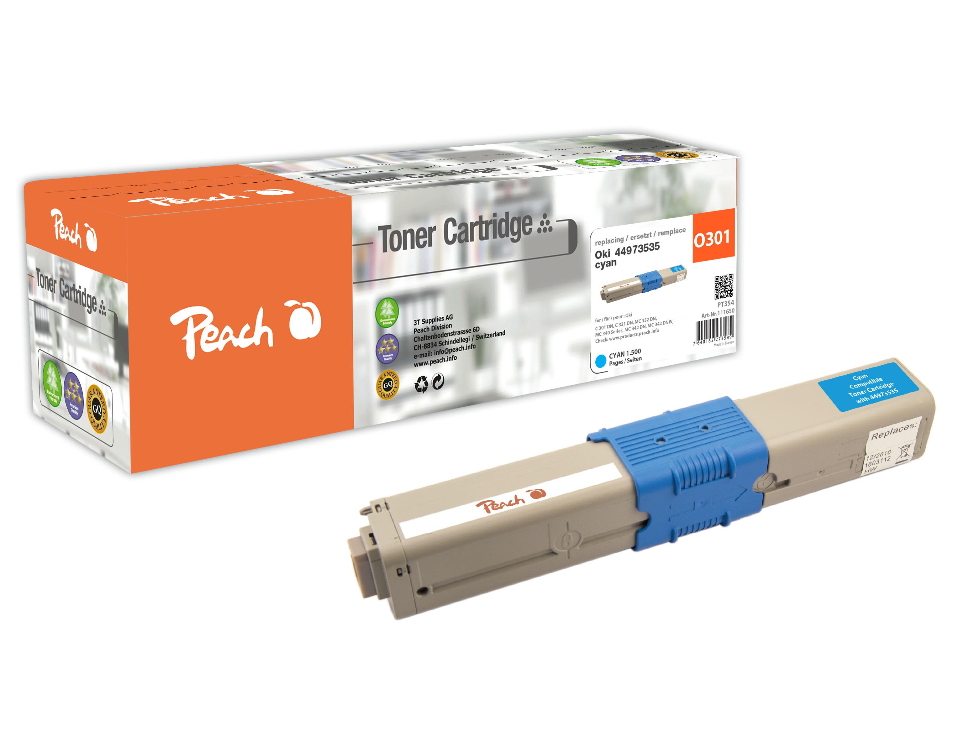 Peach  Tonermodul cyan kompatibel zu Original OKI MC 340 Series