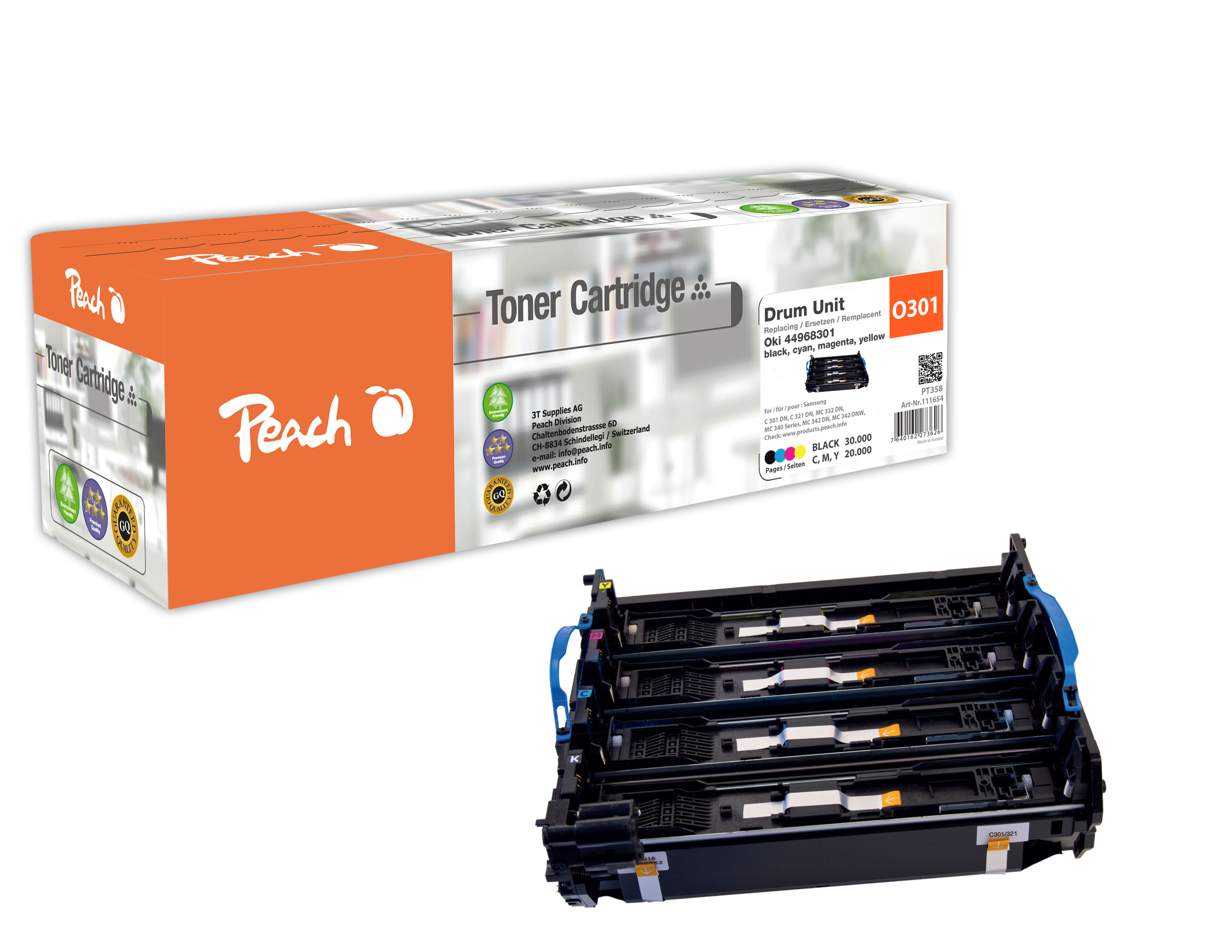 Peach  Trommeleinheit, kompatibel zu Original OKI MC 340 Series