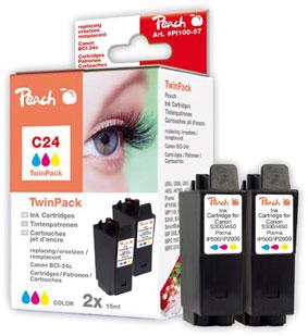 Peach  Doppelpack Tintenpatronen color kompatibel zu Canon Multipass F 20