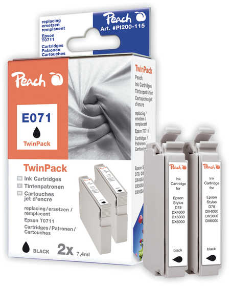 Peach  Doppelpack Tintenpatronen schwarz kompatibel zu Original Epson Stylus Office BX 600 FW