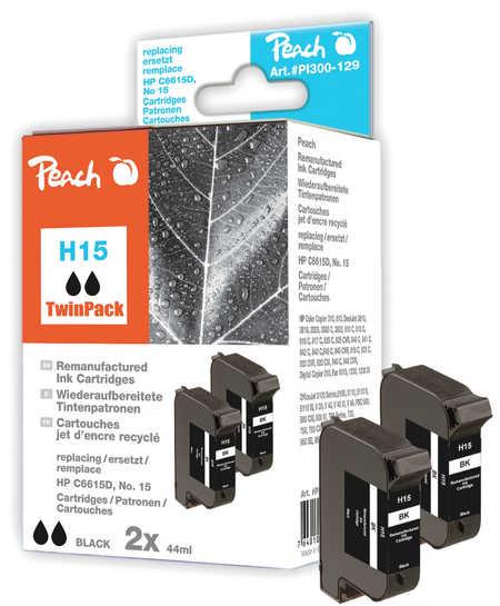 Peach  Doppelpack Druckköpfe schwarz kompatibel zu Original HP OfficeJet V 40
