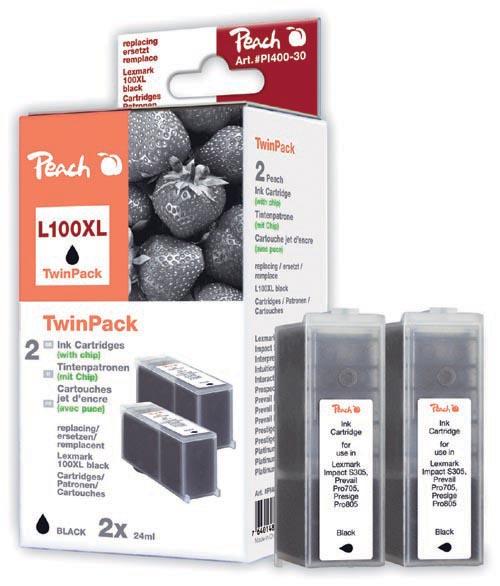 Peach  Doppelpack 2 Tintenpatronen schwarz kompatibel zu Original Lexmark Impact S 302