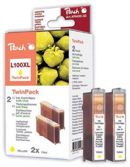 Peach  Doppelpack 2 Tintenpatronen gelb kompatibel zu Original Lexmark Platinum Pro 905