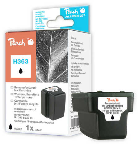 Peach  Tintenpatrone schwarz HC kompatibel zu Original HP PhotoSmart 3310