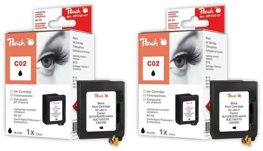 Peach  Doppelpack Druckköpfe schwarz kompatibel zu Original Brother HJ 400