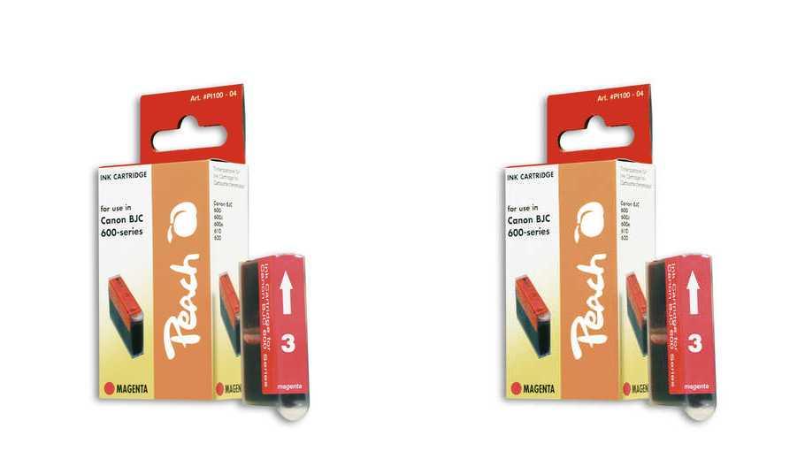 Peach  Doppelpack Tintenpatronen magenta kompatibel zu Original Canon BJC 680