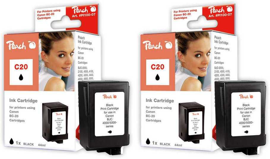 Peach  Doppelpack Druckköpfe schwarz kompatibel zu Original Canon BJC 4550