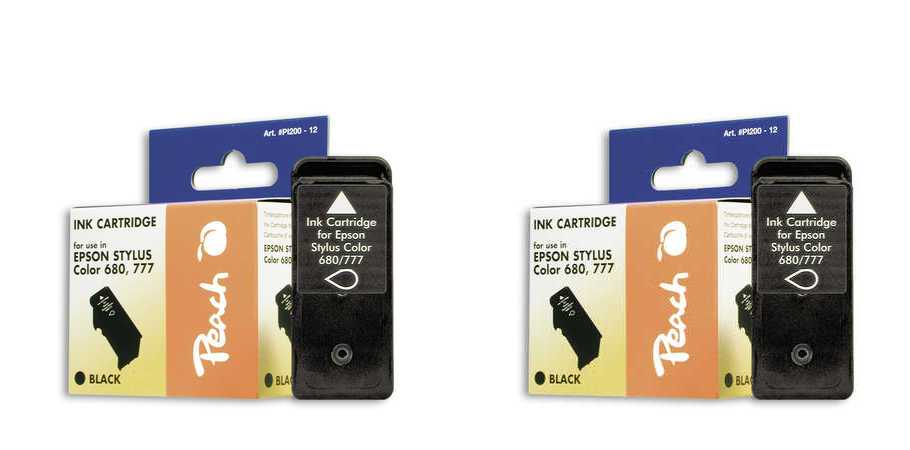 Peach  Doppelpack Tintenpatronen schwarz kompatibel zu Original Epson Stylus Color 777