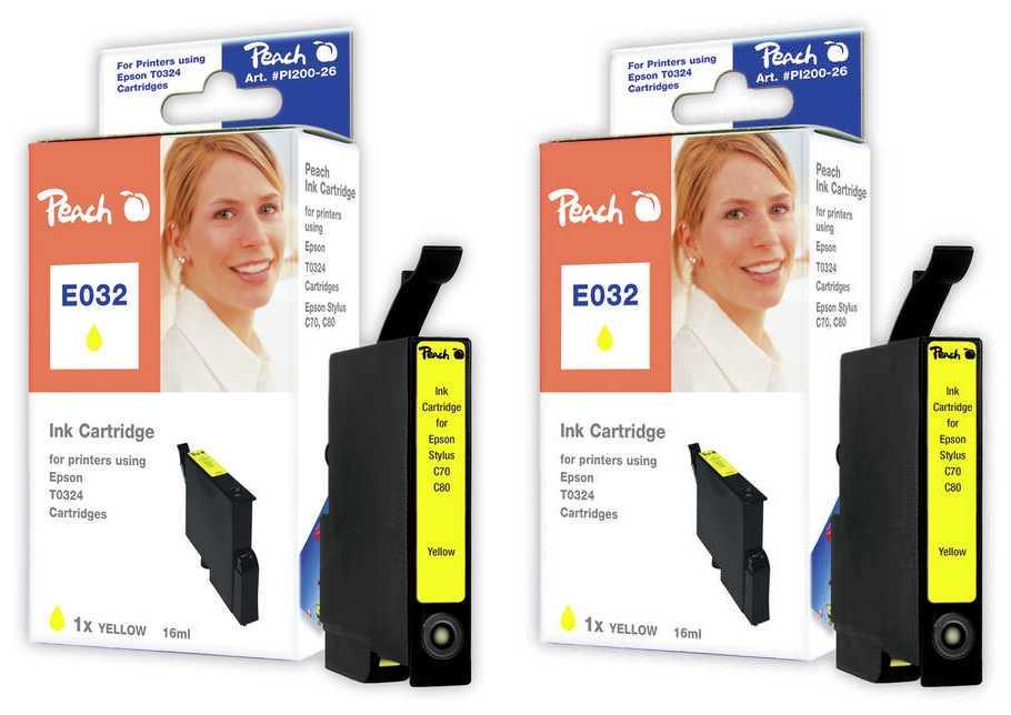 Peach  Doppelpack Tintenpatronen gelb kompatibel zu Original Epson Stylus C 80