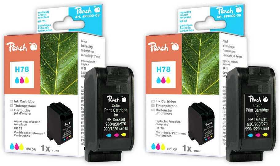Peach  Doppelpack Druckköpfe color kompatibel zu Original HP OfficeJet G 85