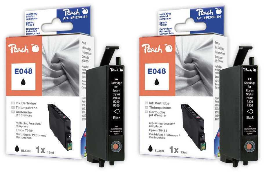 Peach  Doppelpack Tintenpatronen schwarz kompatibel zu Original Epson Stylus Photo RX 640