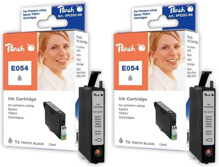 Peach  Doppelpack Tintenpatronen photo schwarz kompatibel zu Original Epson Stylus Photo R 1800