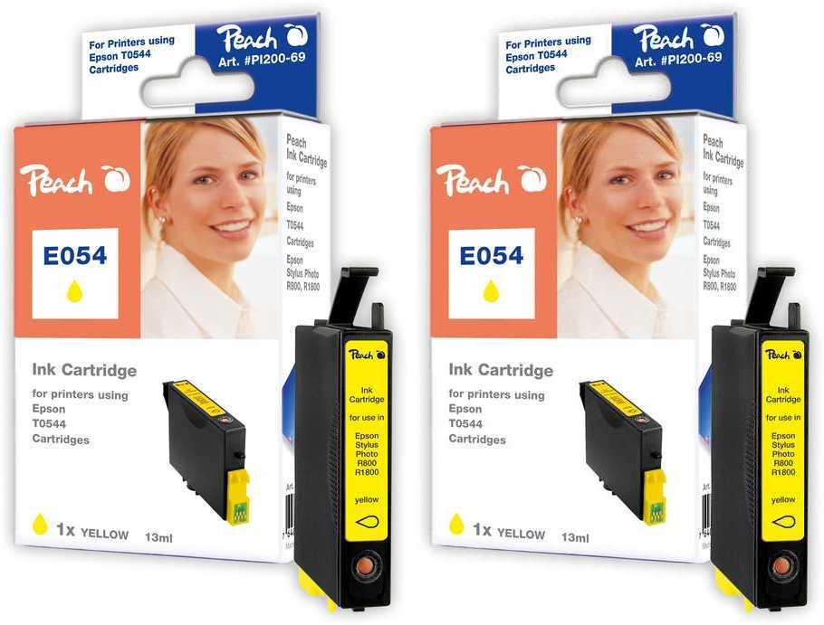 Peach  Doppelpack Tintenpatronen gelb kompatibel zu Original Epson Stylus Photo R 1800
