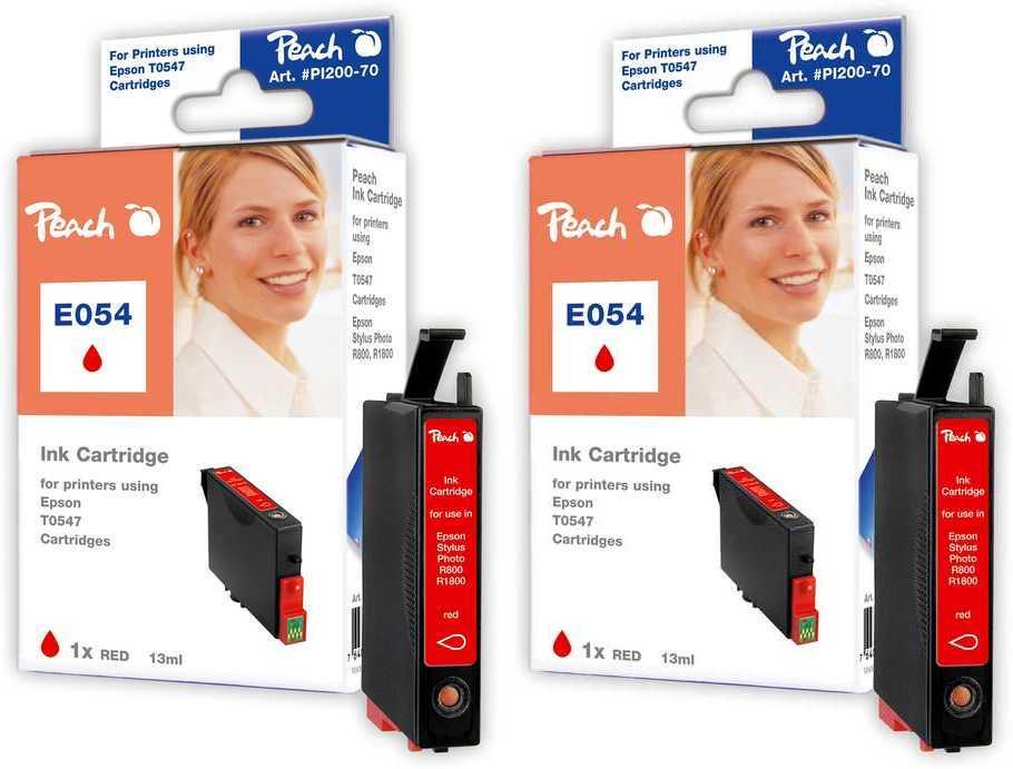Peach  Doppelpack Tintenpatronen rot kompatibel zu Original Epson Stylus Photo R 1800