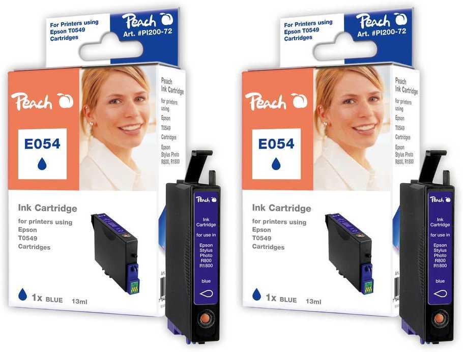 Peach  Doppelpack Tintenpatronen blau kompatibel zu Original Epson Stylus Photo R 1800
