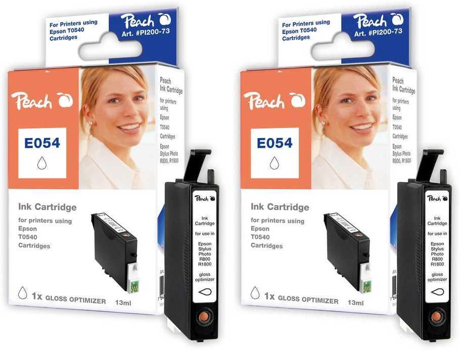 Peach  Doppelpack Tintenpatronen Gloss Optimizer kompatibel zu Original Epson Stylus Photo R 1800