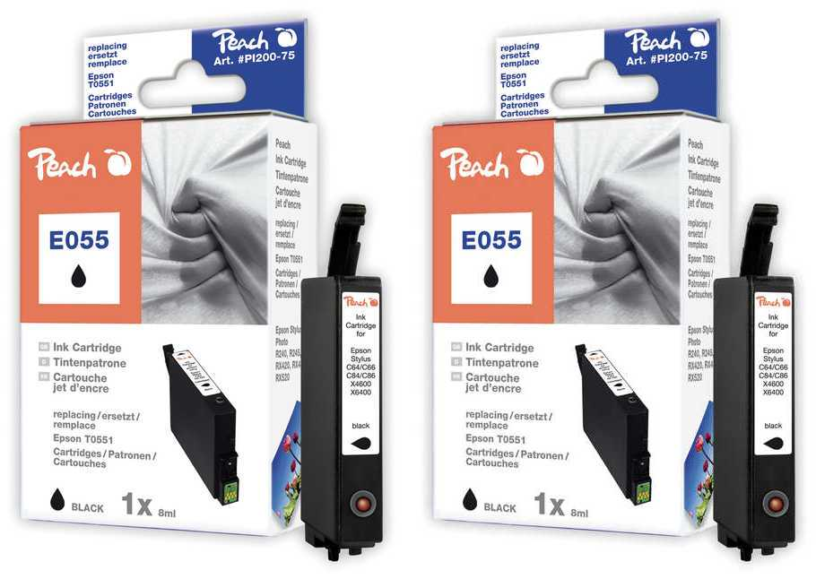 Peach  Doppelpack Tintenpatronen schwarz kompatibel zu Original Epson Stylus Photo R 240