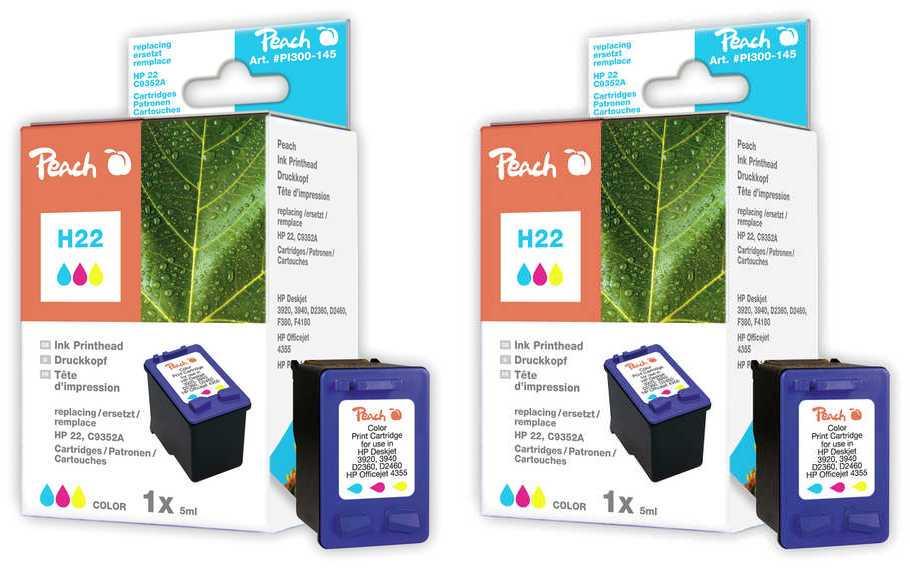 Peach  Doppelpack Druckköpfe color kompatibel zu Original HP DeskJet D 1568