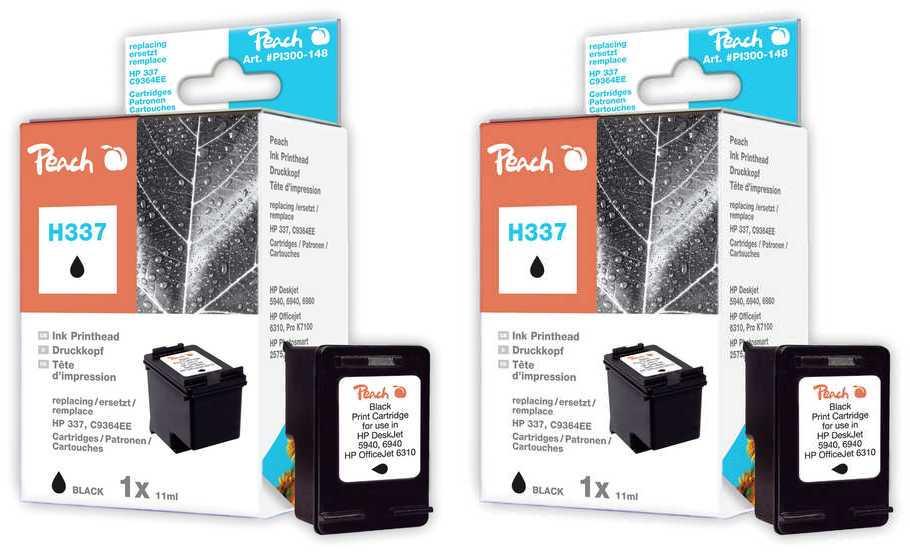 Peach  Doppelpack Druckköpfe schwarz kompatibel zu Original HP PhotoSmart 8700 Series