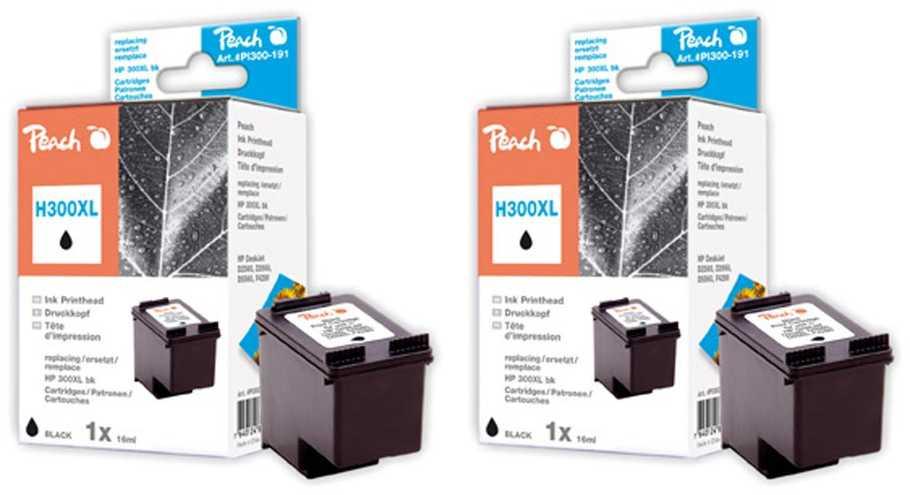 Peach  Doppelpack Druckköpfe schwarz kompatibel zu Original HP DeskJet D 2530