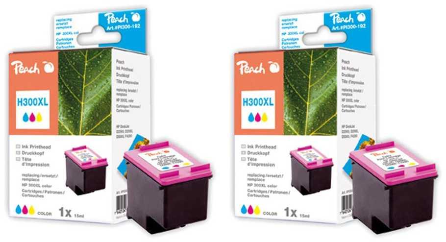 Peach  Doppelpack Druckköpfe color kompatibel zu Original HP DeskJet D 2530