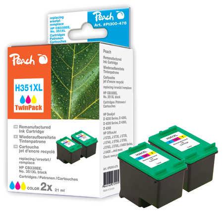 Peach  Doppelpack Druckköpfe color kompatibel zu Original HP PhotoSmart D 5368