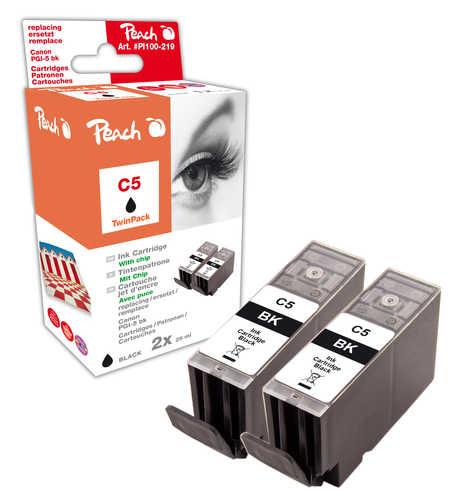 Peach  Doppelpack Tintenpatronen schwarz kompatibel zu Original Canon Pixma IX 4000 Series